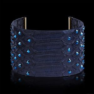 Blue python bracelet with Swarovski